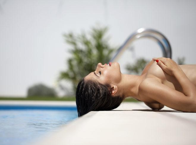 Model Inès Trocchia photographed by Ana Dias for Playboy