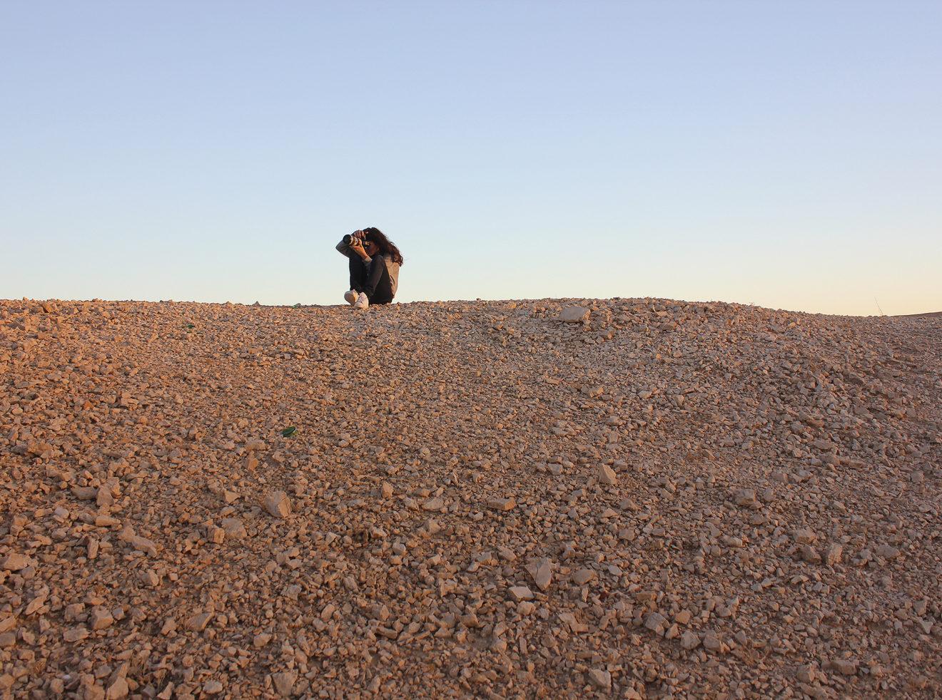 Ana Dias shooting in the Judean Desert, Israel