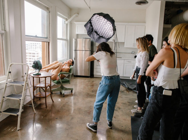 Ana Dias photographing Teela LaRoux for Playboy magazine